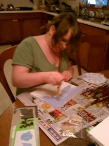 Leah doing a special art project for me