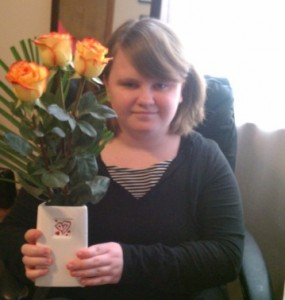 Leah with her pretty roses on Valentine's Day