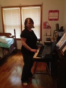 Leah at keyboard