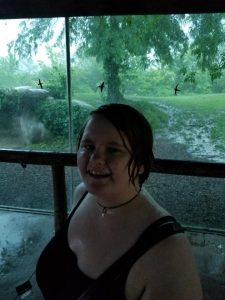 Leah, laughing in the rain