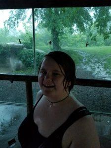 Leah, laughing in the rain