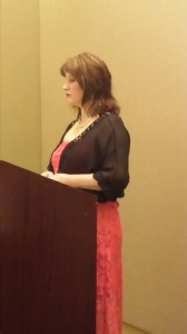 Me speaking at The Cinderella Story: The Power of Shoes women's conference, Overland Park, KS